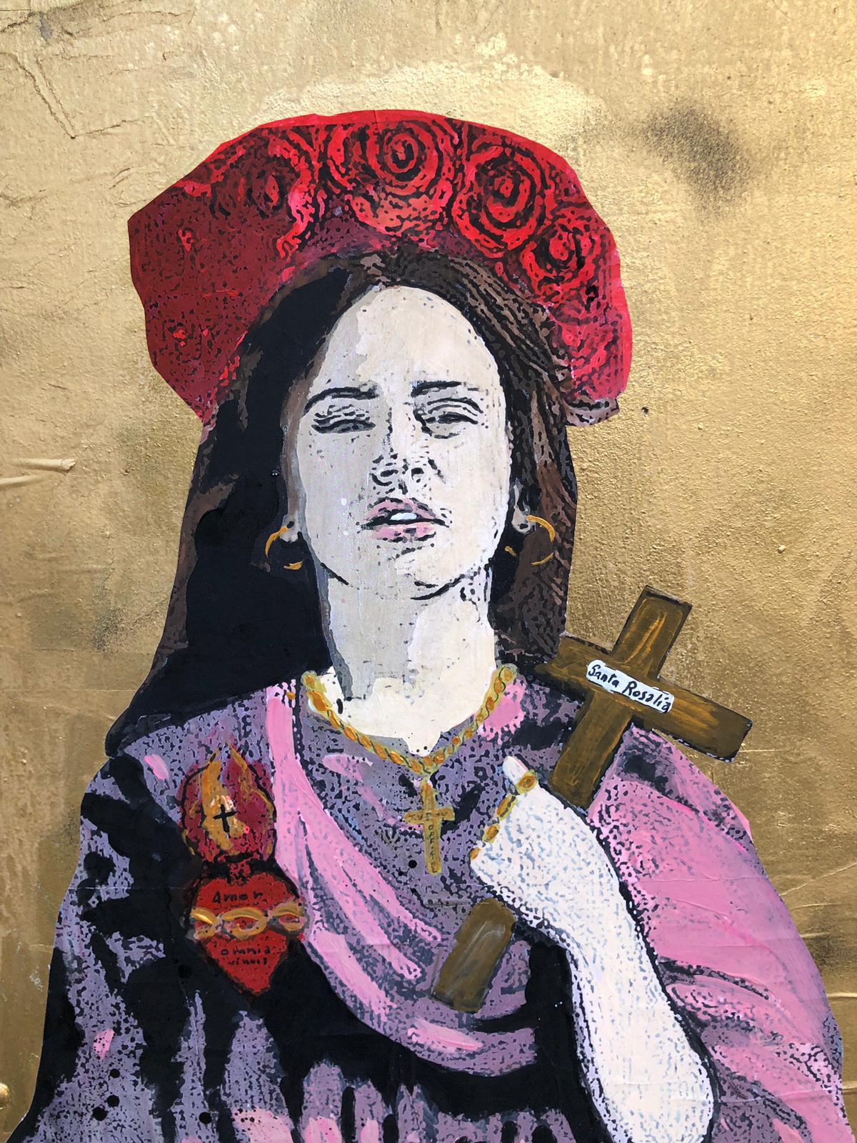 Santa Rosalia con il volto della cantante Rosalia