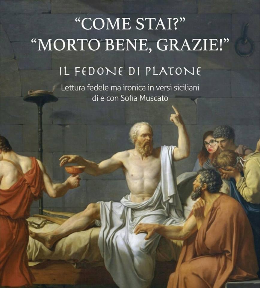 Platone in simposio tra i suoi adepti, tra i quali spunta una Sofia Muscato attonita e dubbiosa